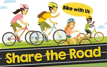 Share the Road bike with us with illustration of family riding bikes