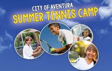 City of Aventura Summer Tennis Camp with children in tennis activities