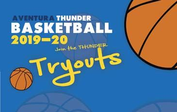 Aventura Thunder Basketball Tryouts with basketballs floating around.