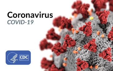 This image contains the Coronavirus as provided by the CDC and the CDC logo. This image contains the