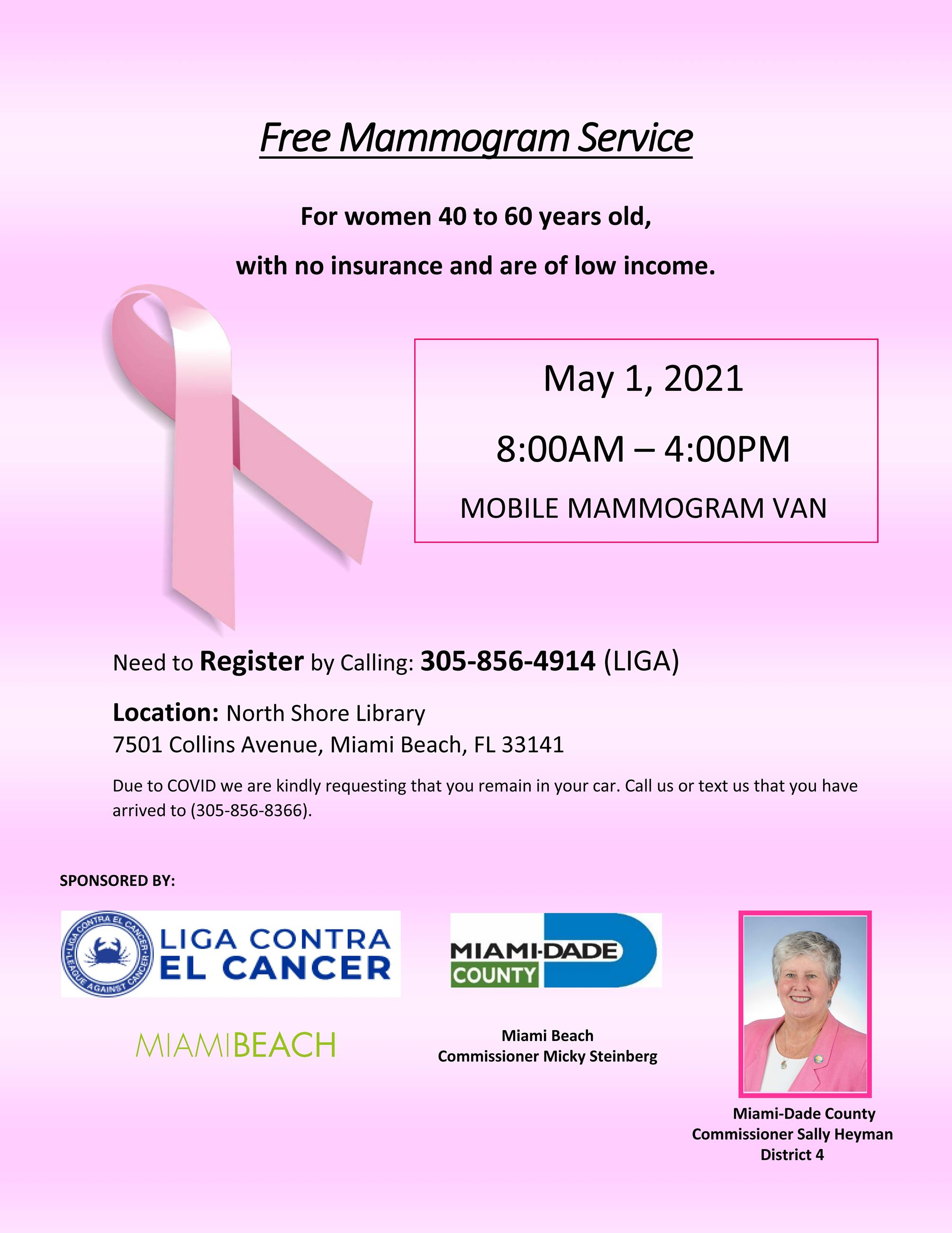 2021 Commissioner Sally Heyman Free Mobile Mammogram Event on May 1st Flyer